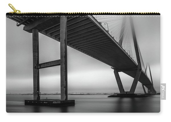Carry-all Pouch featuring the photograph Ravenel Bridge November Fog by Donnie Whitaker