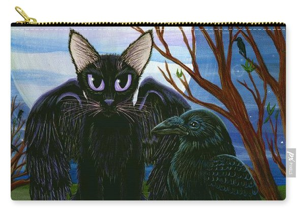 Raven's Moon Black Cat Crow Carry-all Pouch