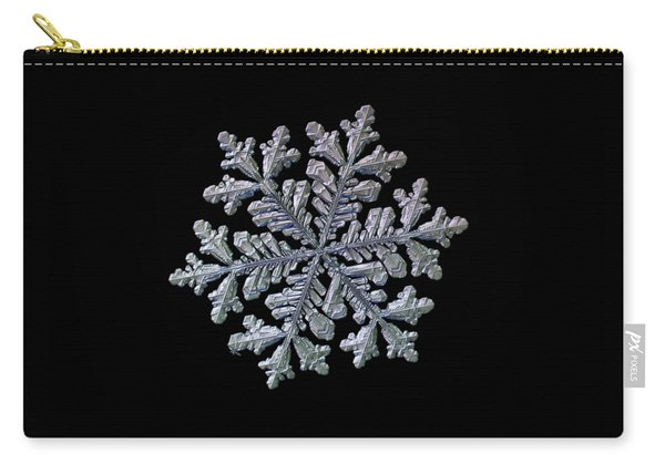 Carry-all Pouch featuring the photograph Real Snowflake - Hyperion Black by Alexey Kljatov