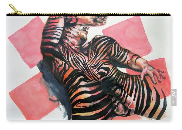 Reclined Striped And Symbolic  Carry-all Pouch