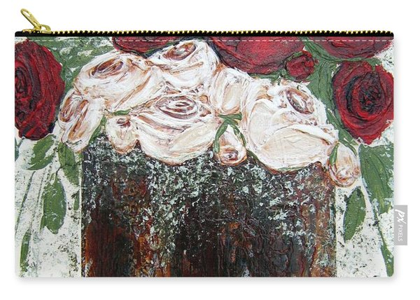 Red And Antique White Roses - Original Artwork Carry-all Pouch