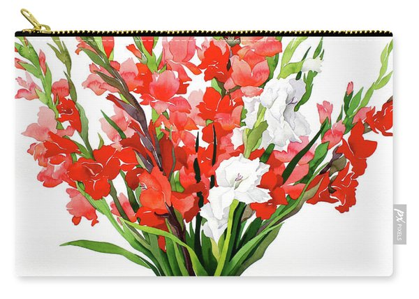 Red And White Gladioli Carry-all Pouch