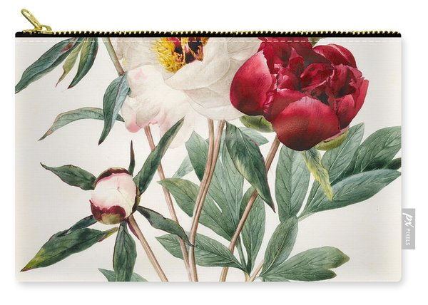 Red And White Herbaceous Peonies Carry-all Pouch