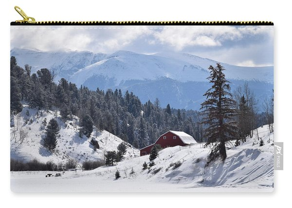 Carry-all Pouch featuring the digital art Red Barn Burgess Reservoir Divide Co by Margarethe Binkley
