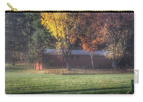 0041 - Red Barn On A Foggy Fall Morning Carry-all Pouch