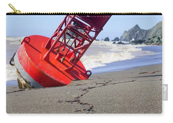 Red Bell Buoy On Beach With Bottle Carry-all Pouch
