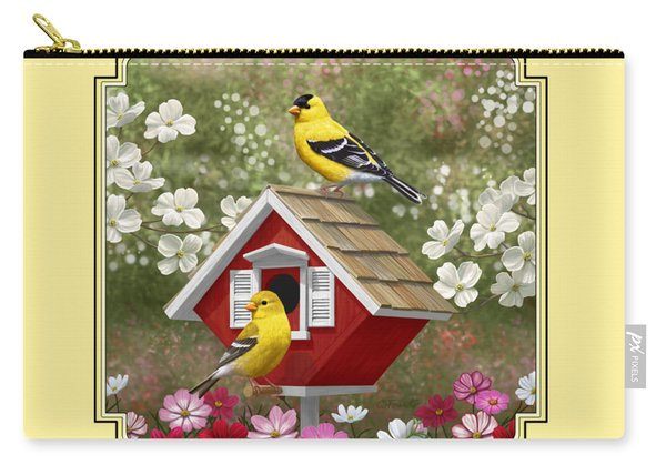 Red Birdhouse And Goldfinches Carry-all Pouch