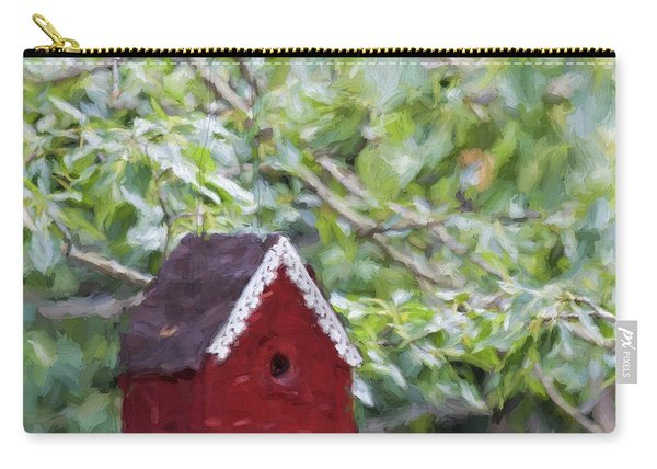 Red Birdhouse Painterly Effect Carry-all Pouch