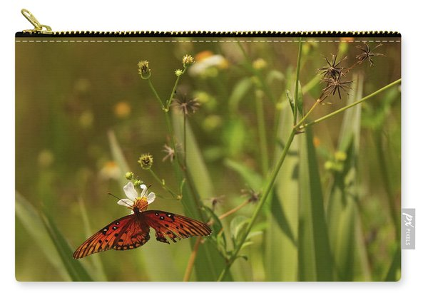 Red Butterfly In Daisy Field Carry-all Pouch