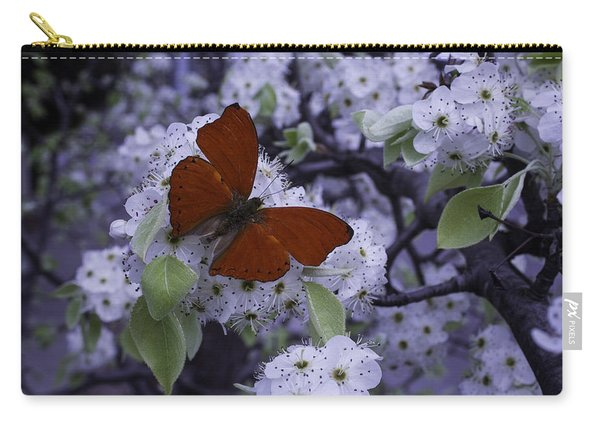 Red Butterfly On Cherry Blossoms Carry-all Pouch