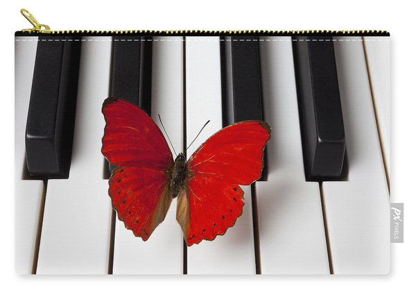 Red Butterfly On Piano Keys Carry-all Pouch
