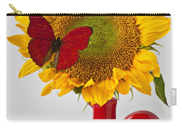Red Butterfly On Sunflower On Red Pitcher Carry-all Pouch