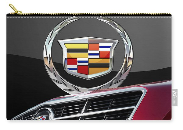 Red Cadillac C T S - Front Grill Ornament And 3d Badge On Black Carry-all Pouch