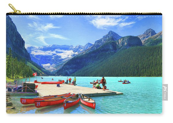Red Canoes  Of Lake Louise - Banff National Park Canada Carry-all Pouch