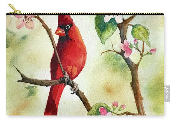 Red Cardinal And Blossoms Carry-all Pouch
