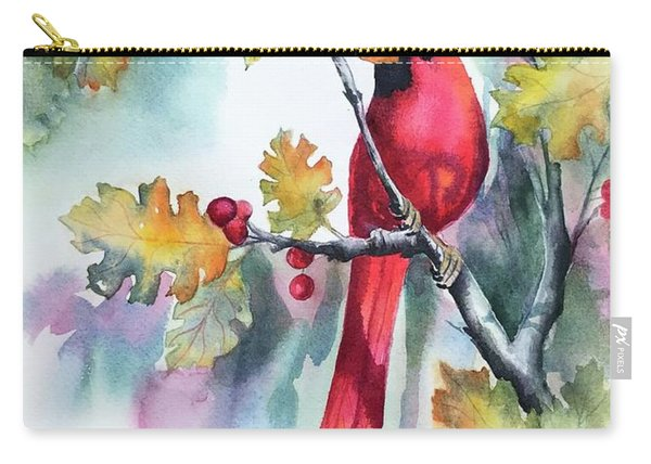 Red Cardinal With Berries Carry-all Pouch