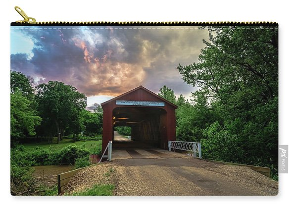 Red Coverd Bridge With Pretty Sky  Carry-all Pouch