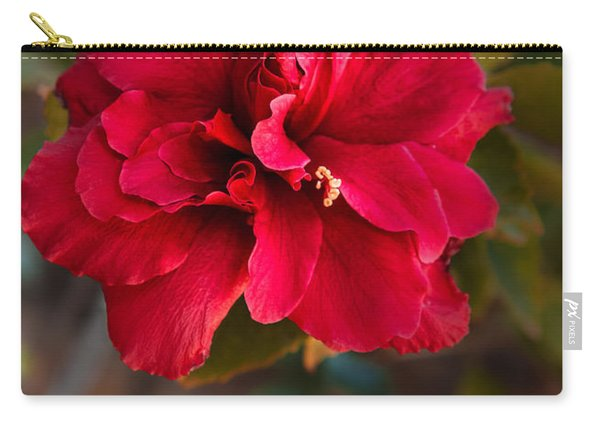 Red Double Hibiscus Carry-all Pouch