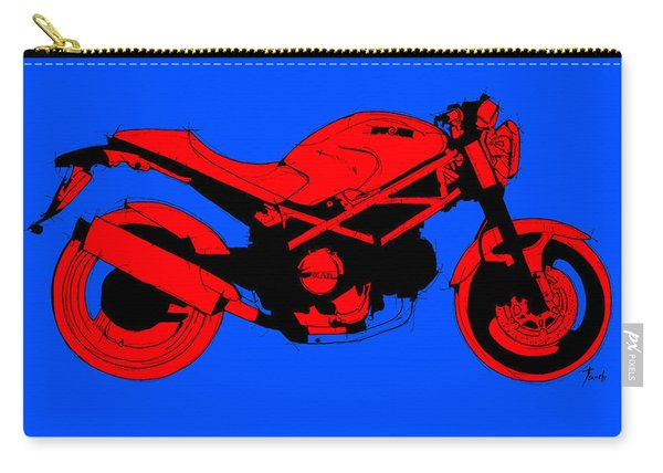 Red Ducati Abstract Motorcycle, Red And Blue Carry-all Pouch