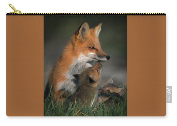 Red Fox Mother And Kits Carry-all Pouch