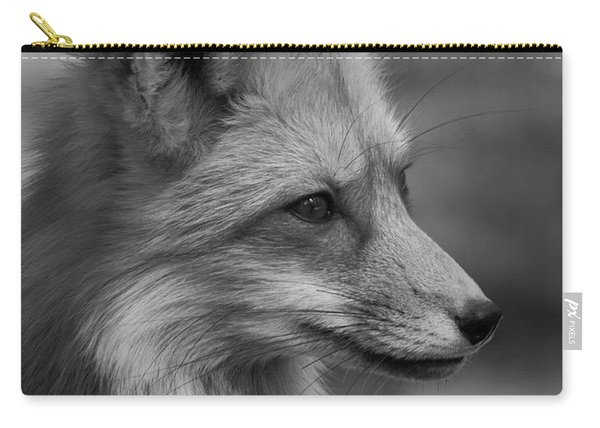 Red Fox Portrait In Black And White Carry-all Pouch