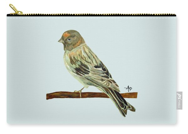 Carry-all Pouch featuring the painting Red-fronted Serin by Angeles M Pomata