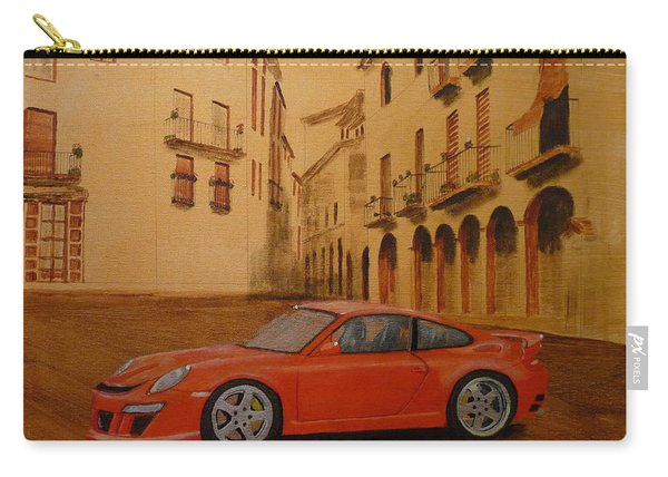 Carry-all Pouch featuring the painting Red Gt3 Porsche by Richard Le Page