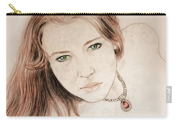 Red Hair And Freckled Beauty Carry-all Pouch