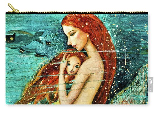 Red Hair Mermaid Mother And Child Carry-all Pouch