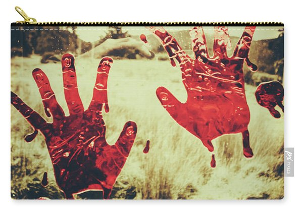 Red Handprints On Glass Of Windows Carry-all Pouch