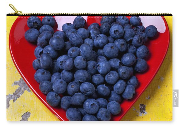 Red Heart Plate With Blueberries Carry-all Pouch