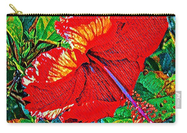 Red Hibiscus Aslant Carry-all Pouch