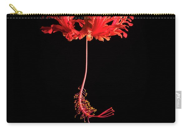 Red Hibiscus Schizopetalus On Black Carry-all Pouch