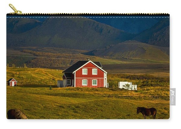Red House And Horses - Iceland Carry-all Pouch
