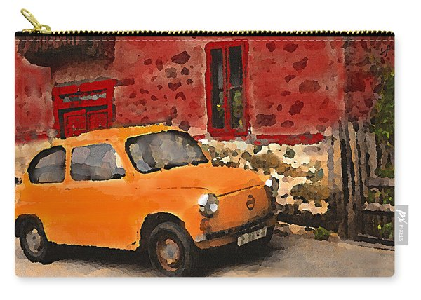 Red House With Orange Car Carry-all Pouch