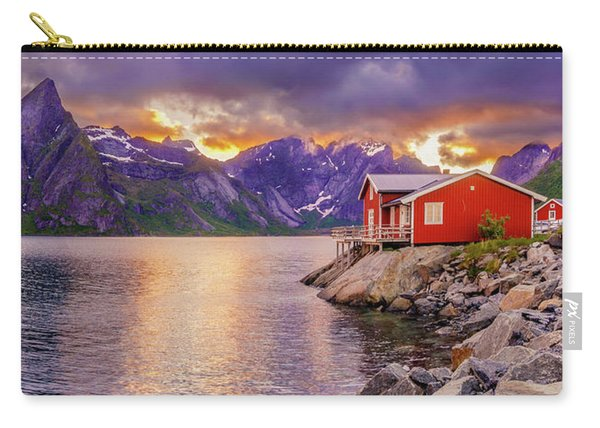 Carry-all Pouch featuring the photograph Red Hut In A Midnight Sun by Dmytro Korol
