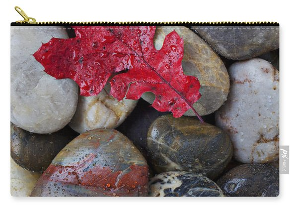Red Leaf Wet Stones Carry-all Pouch