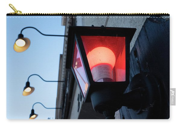 Red Light On The Wall With A Blue Sky And Yellow Bulbs In Holland Michigan Carry-all Pouch