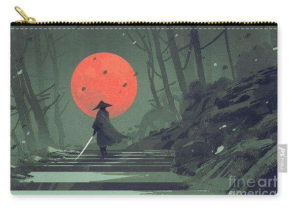 Carry-all Pouch featuring the painting Red Moon Night by Tithi Luadthong