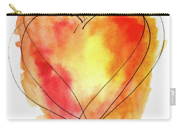 Red Orange Yellow Watercolor And Ink Heart Carry-all Pouch