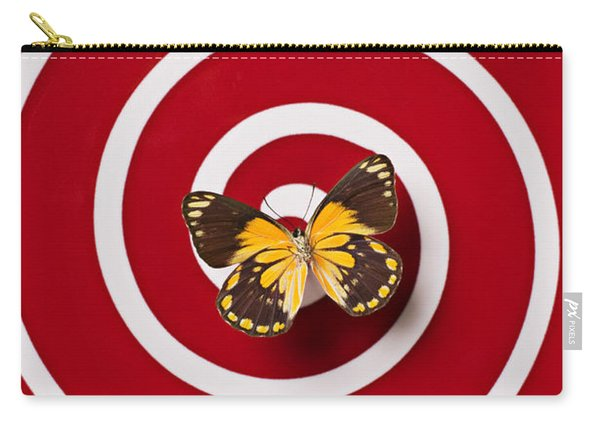 Red Plate And Yellow Black Butterfly Carry-all Pouch