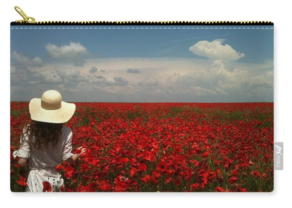 Red Poppies And Lady Carry-all Pouch