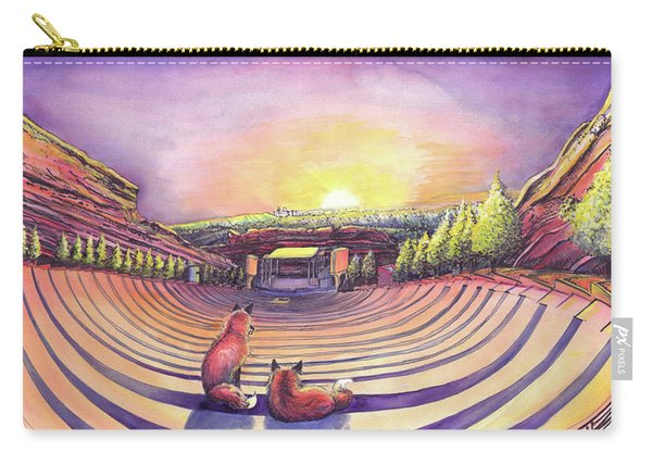 Foxes At Red Rocks Sunrise Carry-all Pouch