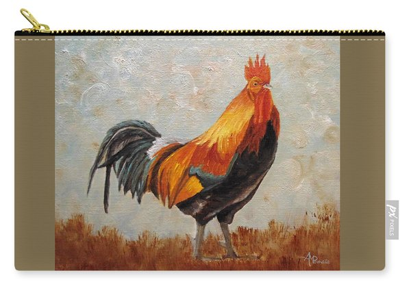 Carry-all Pouch featuring the painting Red Rooster by Angeles M Pomata