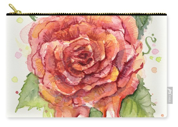 Red Rose Dripping Watercolor  Carry-all Pouch