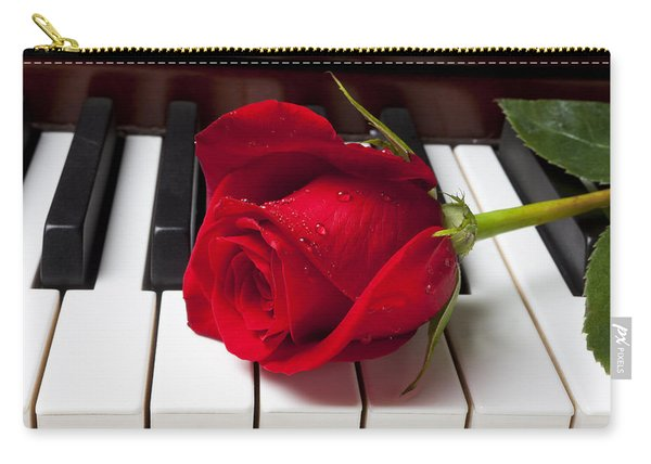 Red Rose On Piano Keys Carry-all Pouch
