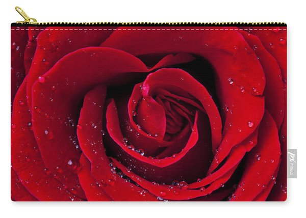 Red Rose With Dew Carry-all Pouch