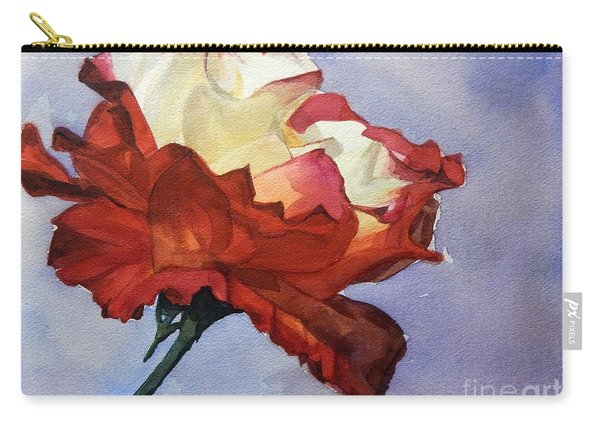 Watercolor Of A Red And White Rose On Blue Field Carry-all Pouch