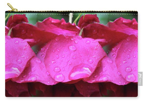 Red Roses And Raindrops Carry-all Pouch