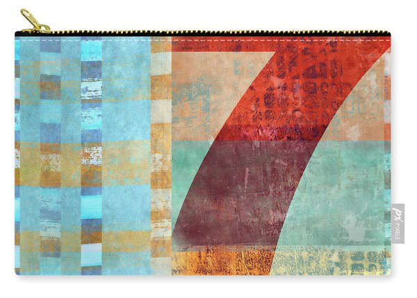 Red Seven And Stripes Mixed Media Carry-all Pouch